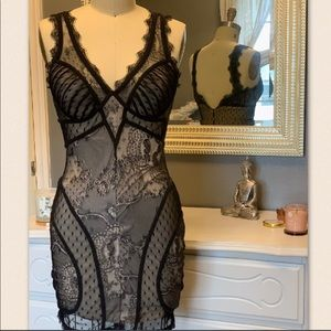 Sexy black lace dress with nude underlay